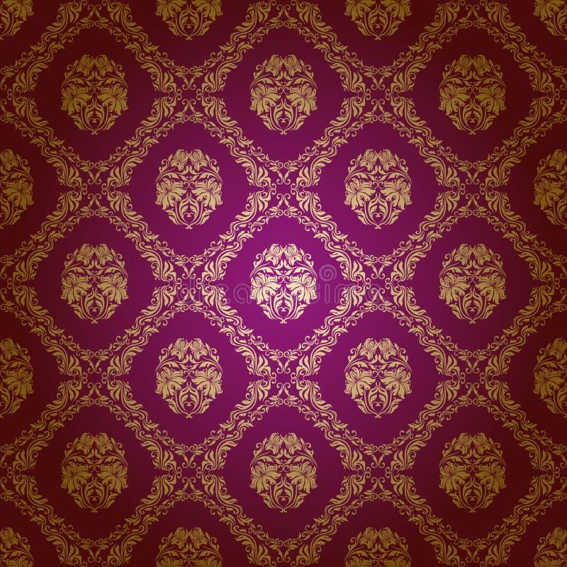 无缝锦缎花卉的模式 向量例证
