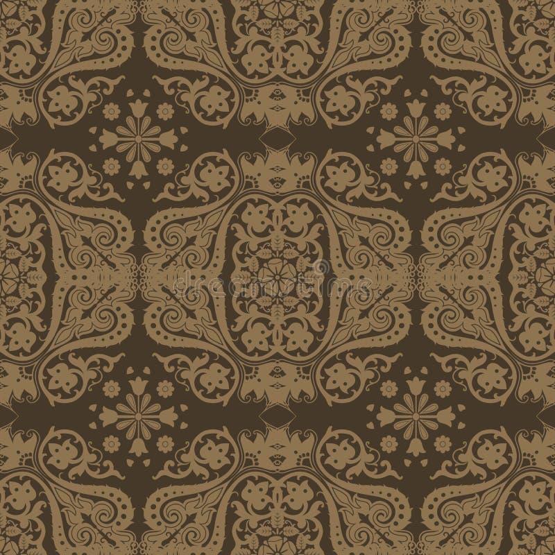 无缝锦缎花卉的模式 库存例证