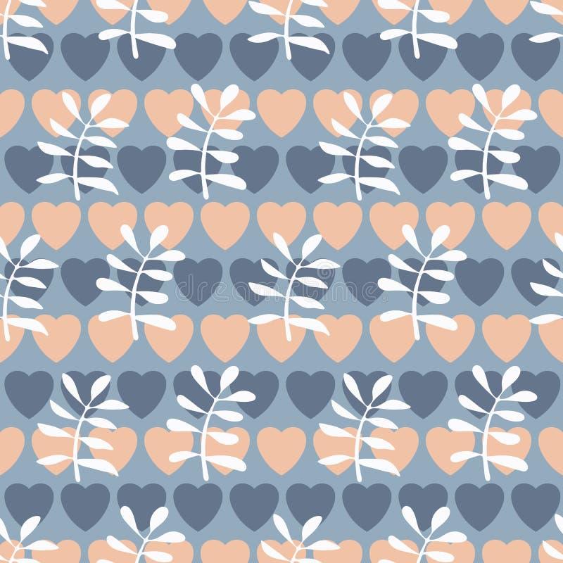 无缝镶边attern与心脏和叶子 库存例证