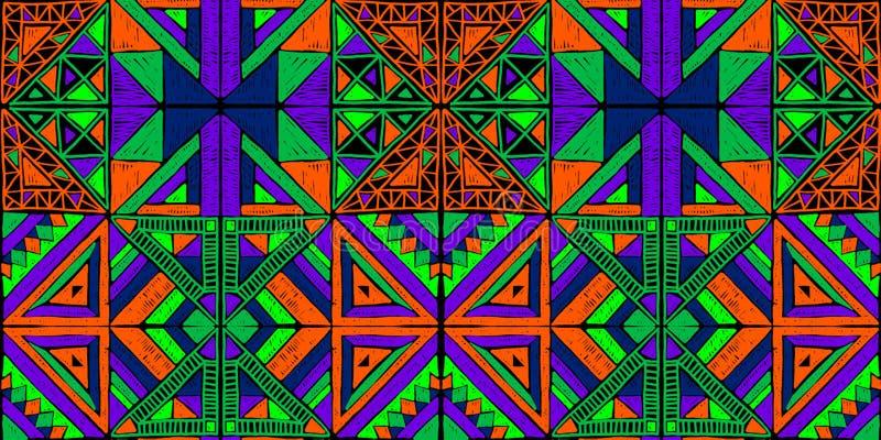无缝非洲的模式 在地毯的种族装饰品 阿兹台克样式 图部族刺绣 印地安,墨西哥,民间样式 向量例证