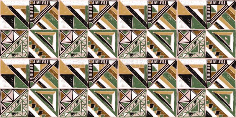 无缝非洲的模式 在地毯的种族装饰品 阿兹台克样式 图部族刺绣 印地安,墨西哥,民间样式 库存例证