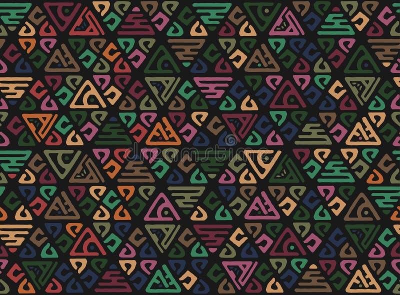 无缝非洲的模式 在地毯的种族boho装饰品 阿兹台克样式 图部族刺绣 印地安,墨西哥,民间样式 皇族释放例证