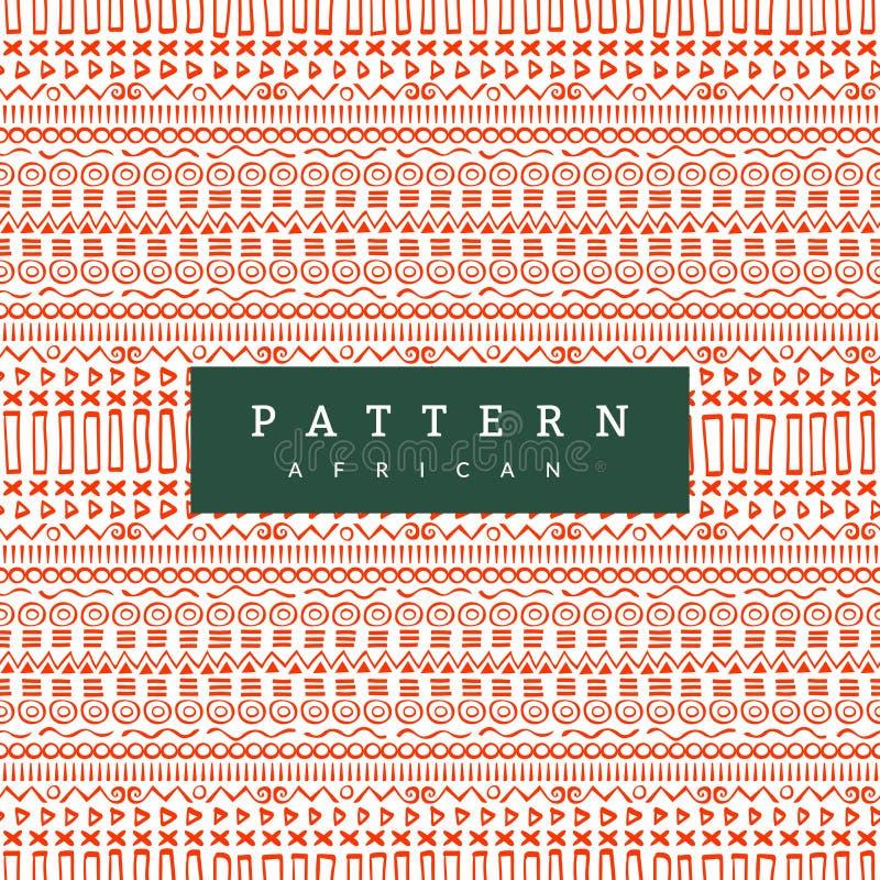 无缝非洲的模式 手拉的水平的条纹 您的纺织品的明亮的橙色印刷品 向量例证