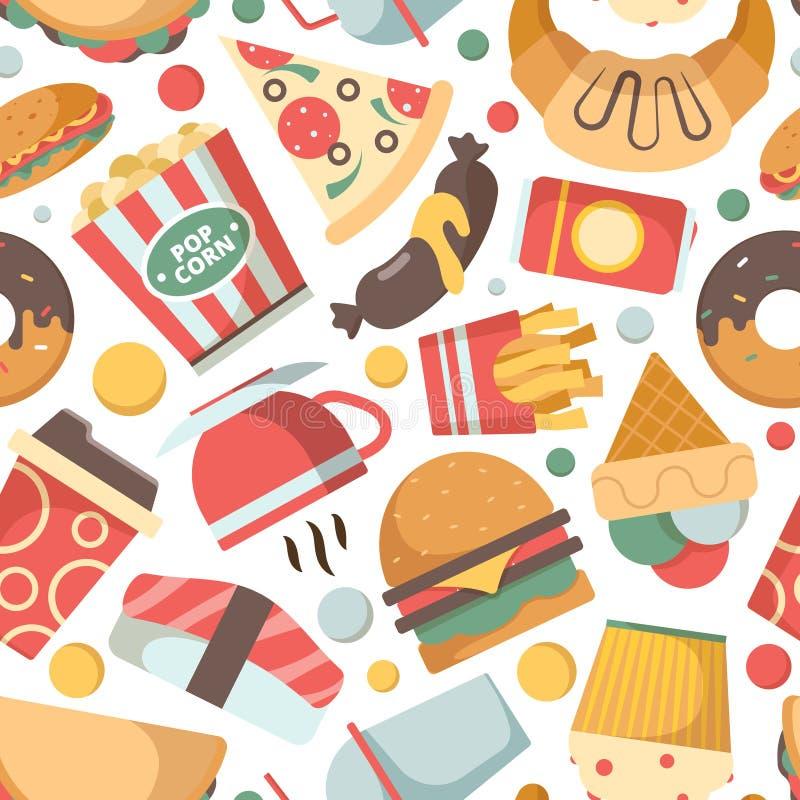 便当样式 无缝餐馆菜单图片比萨汉堡包冰淇淋三明治冷的饮料快餐的传染媒介 向量例证