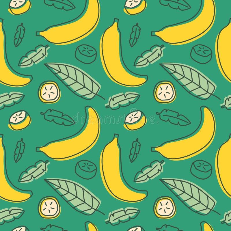 无缝香蕉的模式 手拉的新鲜的热带水果 Multic 库存例证
