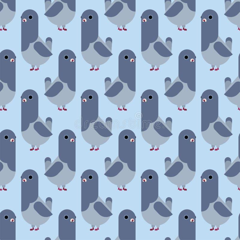 无缝鸠的样式 鸽子动画片背景 城市鸟传染媒介例证 向量例证