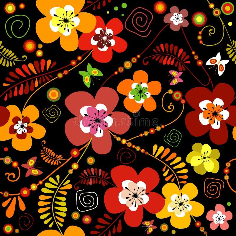 无缝黑色的花纹花样 向量例证