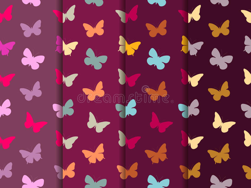 无缝蝴蝶的模式 仿造无缝的集 多色蝴蝶 库存例证
