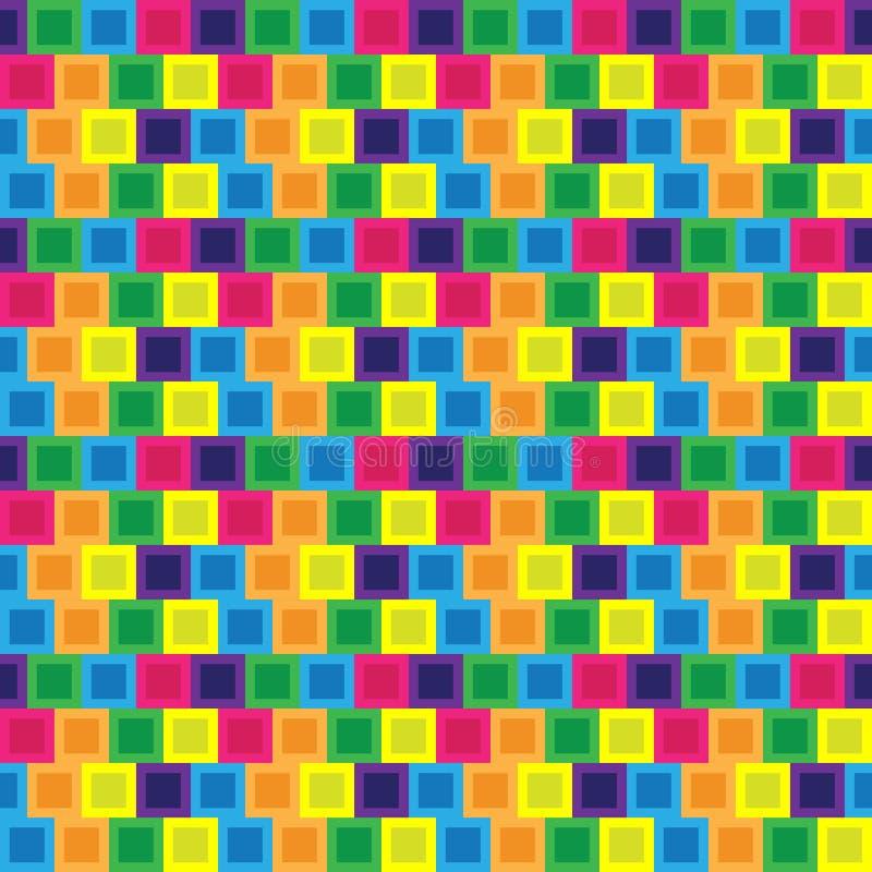 无缝/Tileable五颜六色的块瓦片样式 向量例证