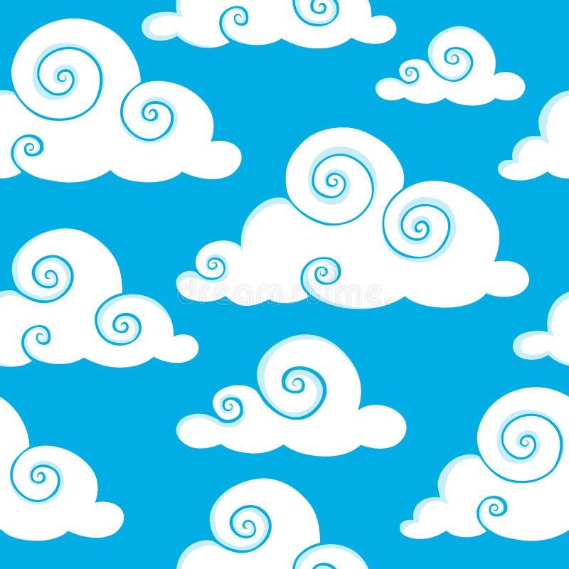 无缝6朵背景的云彩 皇族释放例证
