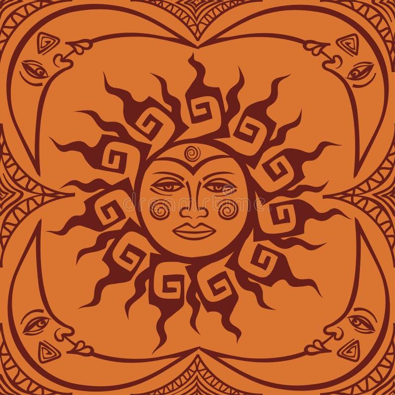 无缝pattren部族太阳和月牙月亮 向量例证
