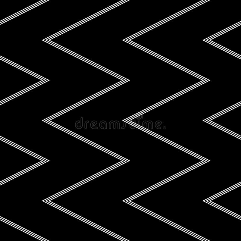 无缝V形臂章的模式 在黑背景的白色细条纹之字形线纹理 皇族释放例证