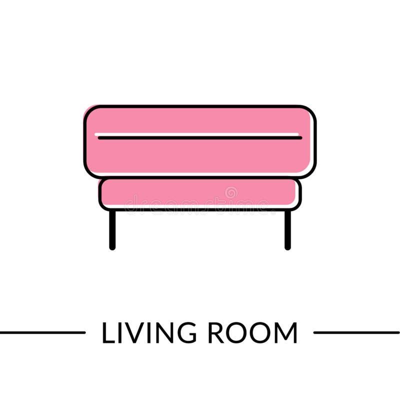 无背长椅客厅家具线象 库存例证