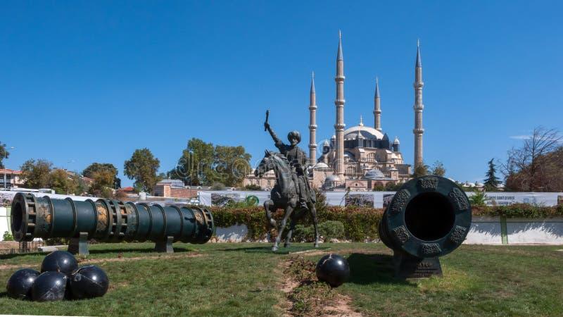 无背长椅苏丹Mehmed的纪念碑II Mehmed征服者在市爱迪尔内 库存照片