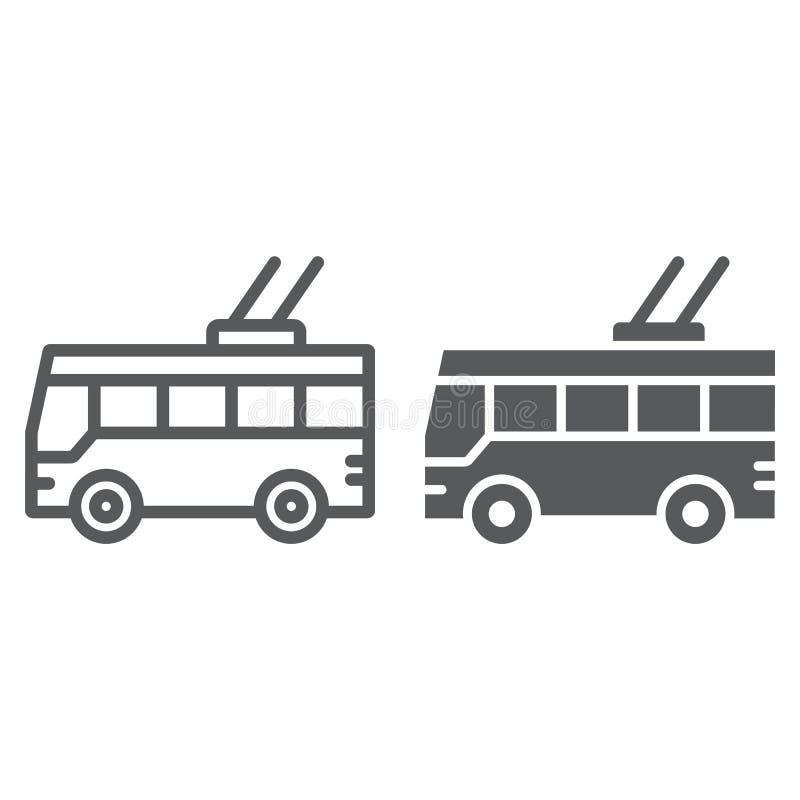 无轨电车线和纵的沟纹象、运输和公众,交通标志,向量图形,在白色的一个线性样式 向量例证