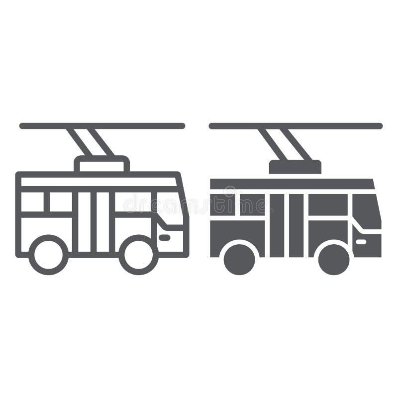无轨电车线和纵的沟纹象、运输和公众,城市交通标志,向量图形,在a的一个线性样式 皇族释放例证