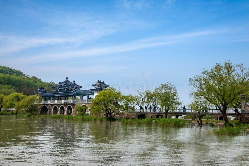 无锡Taihu鼋头渚Taihu仙岛将仙桥 免版税库存图片