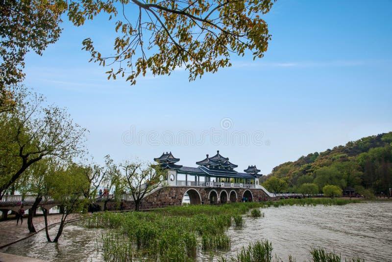 无锡Taihu鼋头渚Taihu仙岛将仙桥 免版税库存照片