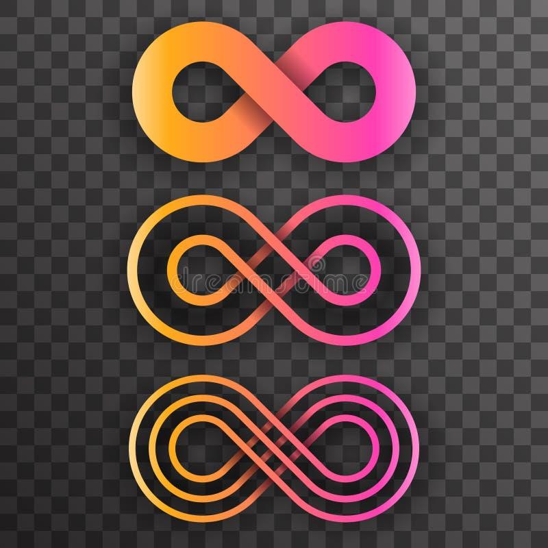 无限形状无限的标志不尽的无限八个集合透明背景传染媒介例证 向量例证