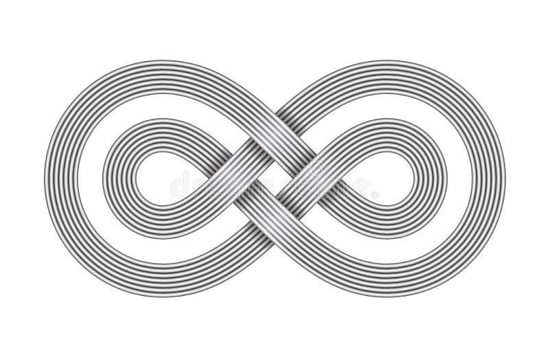 无限标志由两条横渡的金属线制成 不可限量的小条标志 也corel凹道例证向量 库存例证