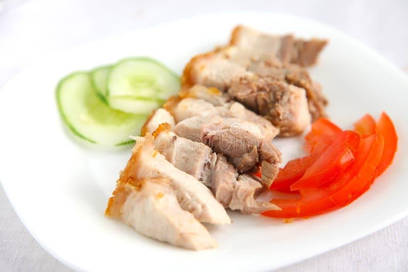 无骨的中国烤猪肉 免版税库存图片