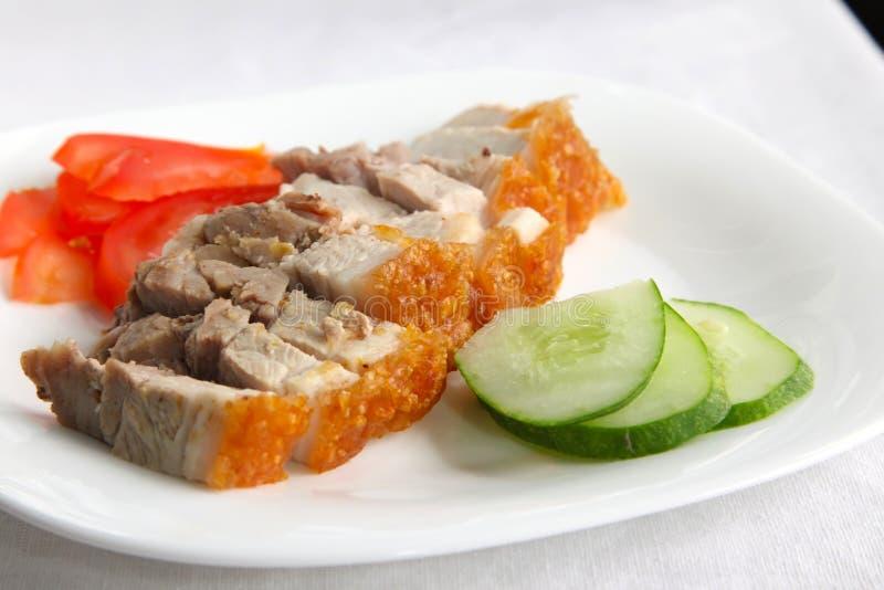 无骨的中国烤猪肉 免版税图库摄影