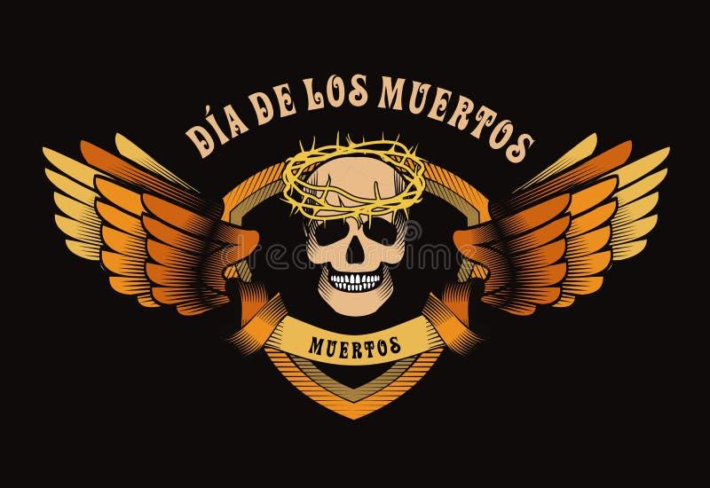 日停止的墨西哥头骨 皇族释放例证