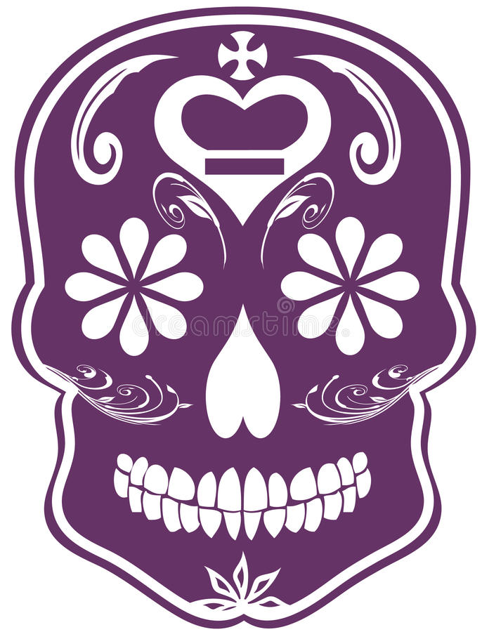 日停止的紫色头骨糖向量 皇族释放例证