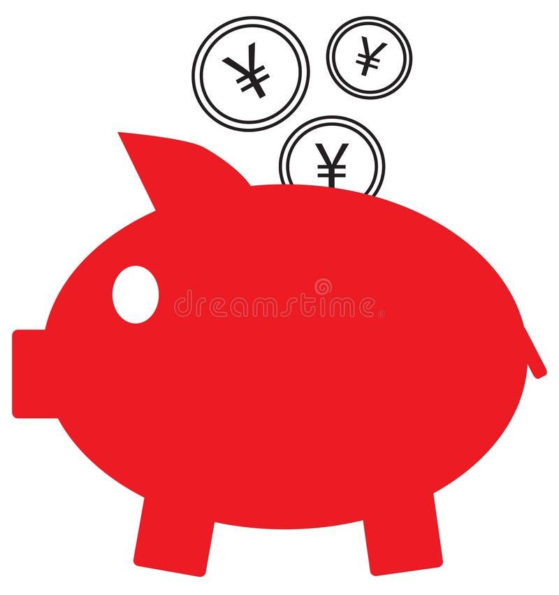 日元、元或者人民币货币象或商标在进入存钱罐的硬币 向量例证