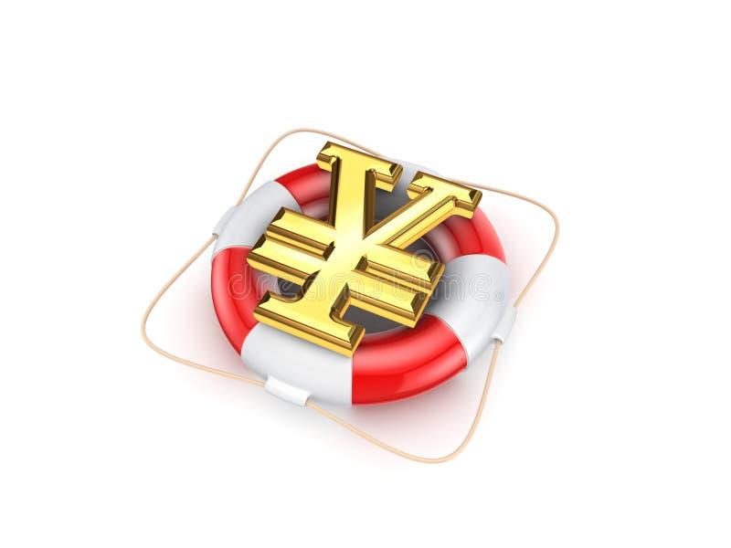 日元的标志在救生圈的。 免版税库存图片