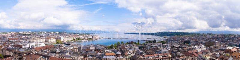 日内瓦、Leman湖和水城市全景  库存照片