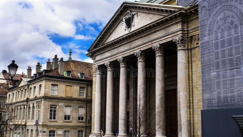 日内瓦圣皮埃尔大教堂的门面  图库摄影