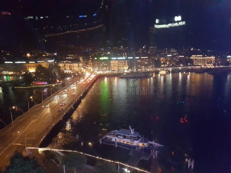 日内瓦夜scape 免版税库存图片