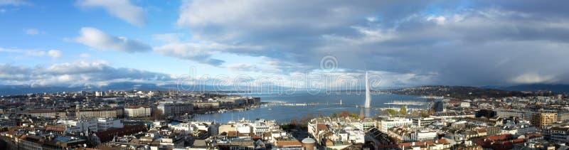 日内瓦市全景,瑞士 免版税库存图片