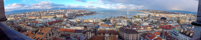 日内瓦市全景,瑞士(HDR) 免版税库存照片