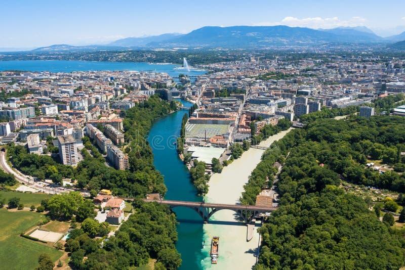 日内瓦市鸟瞰图在瑞士 库存照片