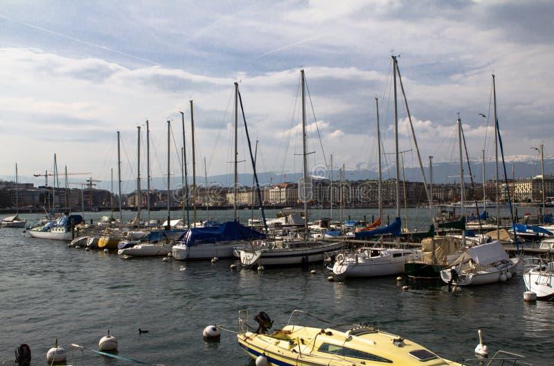 日内瓦港口  免版税库存照片