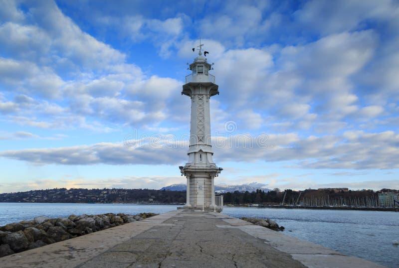 日内瓦湖灯塔 免版税库存照片