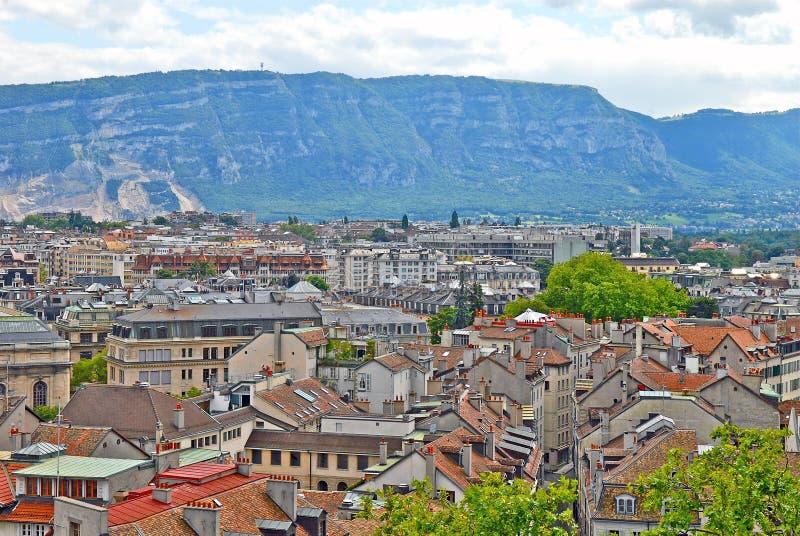 日内瓦,瑞士都市风景视图  免版税库存图片