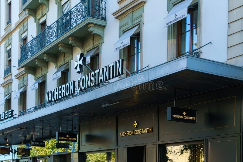 日内瓦,瑞士- 2017年10月18日:品牌手表商店Vach 免版税库存图片