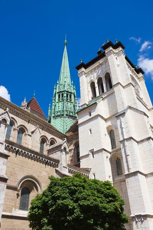 日内瓦,瑞士- 2016年6月17日:圣皮埃尔大教堂 图库摄影