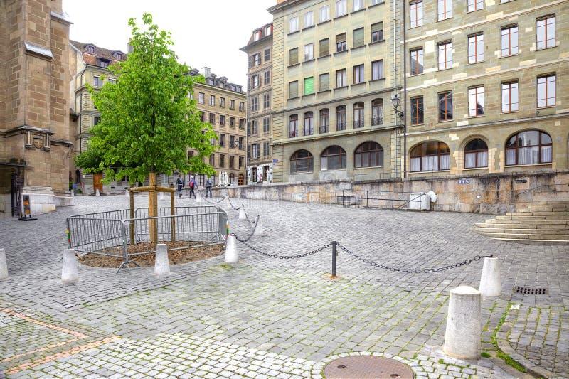 日内瓦 都市的横向 图库摄影