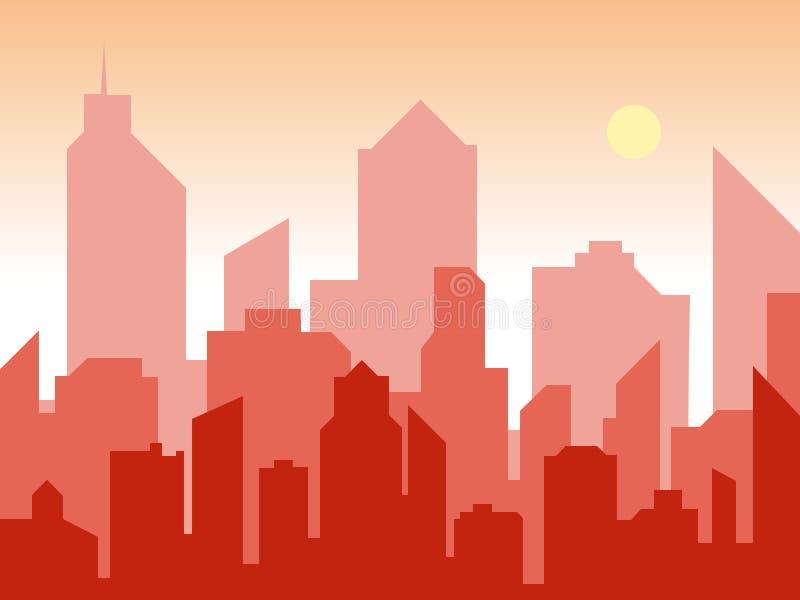 日出和现代剪影城市平的艺术样式的 漫画书设计背景 传染媒介例证减速火箭的样式 皇族释放例证