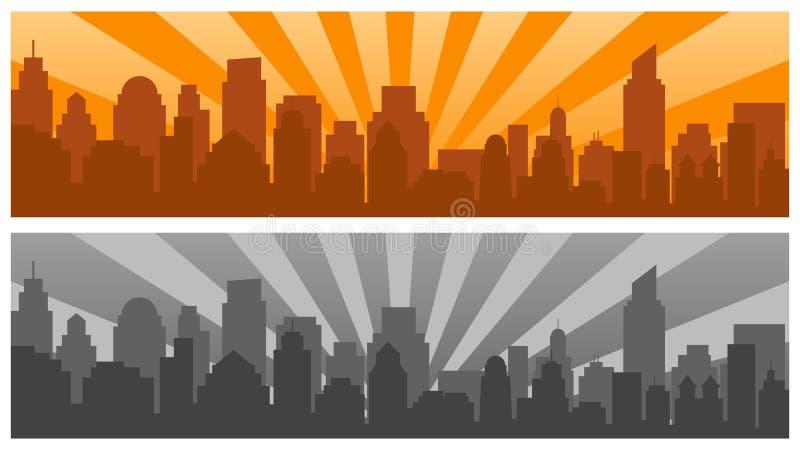 日出和现代剪影城市流行艺术样式的,两种颜色 库存例证