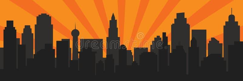 日出和现代黑剪影城市流行艺术样式的 皇族释放例证
