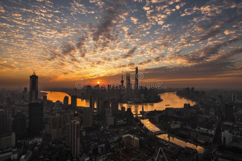 日出在上海 免版税库存照片