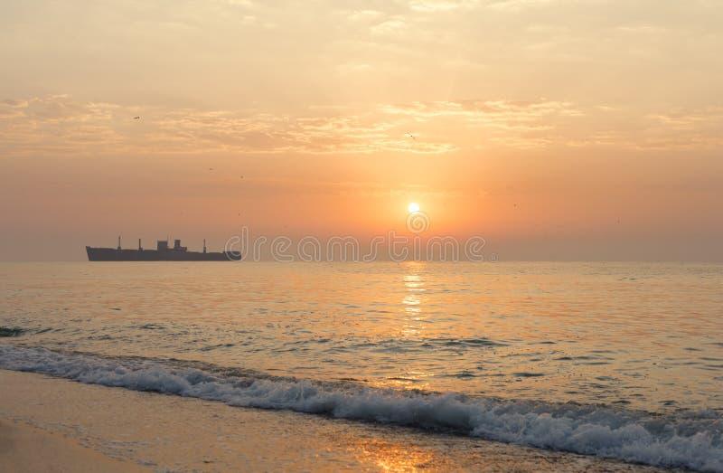 日出在与海难的海边 免版税库存图片