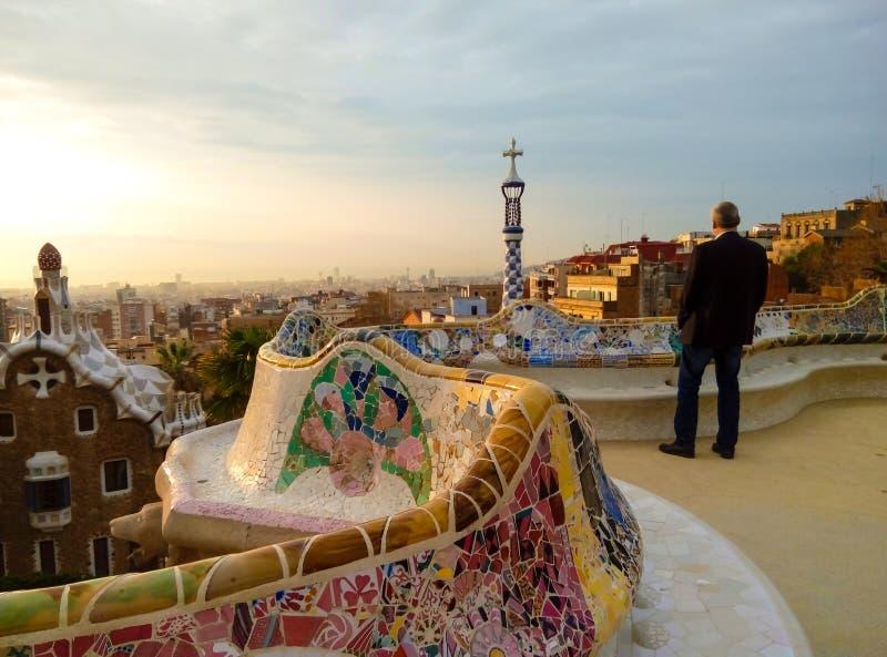 日出在公园Guell 巴塞罗那西班牙 免版税库存图片