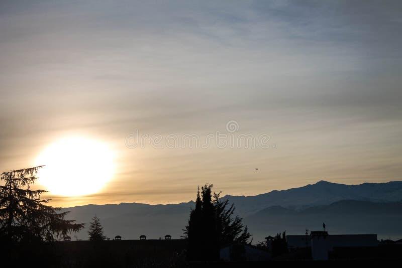 日出在内华达山 免版税库存照片