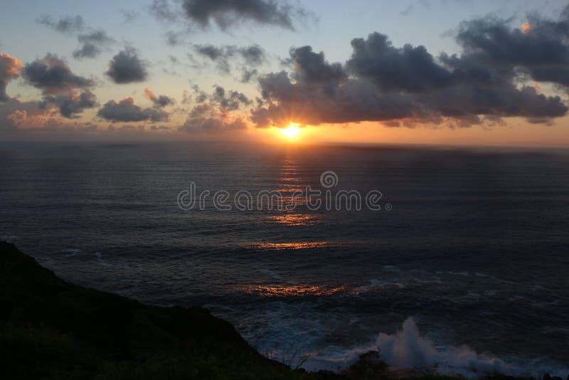 日出在奥阿胡岛,夏威夷 库存图片
